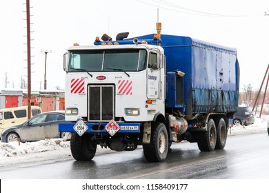 Novyy Urengoy, Russia - October 6, 2012: American oil and gas service truck Peterbilt 362 in the city street.