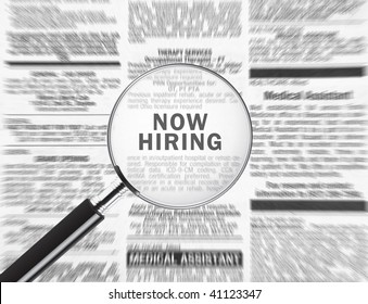 Now hiring ad through a magnifying glass