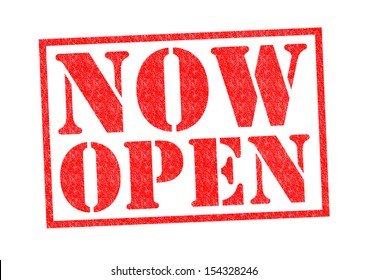 NOW OPEN Rubber Stamp over a white background.