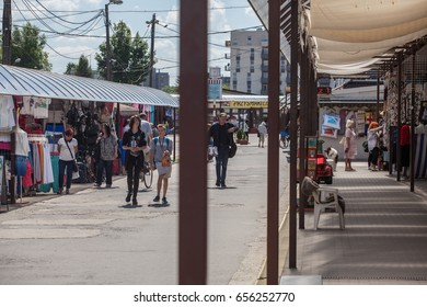 NOWA HUTA, KRAKOW, POLAND - JUNE 8, 2017: Tomex flea market, cattle market, marketplace.