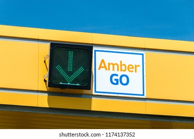 Nowa Wies, Poland - August 19, 2018: Traffic sign on toll station on highway A1 called Amber One.
