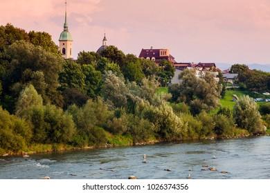 Nowy Sacz panorama with Dunajec RIver. Nowy Sacz, Lesser Poland, Poland.