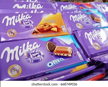 Nowy Sacz, Poland - June 25, 2017: Milka chocolate  on store shelves for sale in a Tesco Hypermarket. Milka is a Swiss brand of chocolate confection.