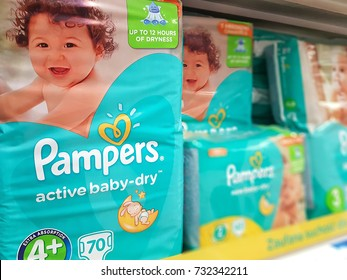 Nowy Sacz, Poland - September 29, 2017:  Various types of Pampers active baby-dry by Procter & Gamble Co. and offered for sale in Tesco Hypermarket.