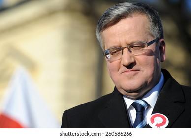 NOWY TARG, POLAND - MARCH 08, 2015: President of the Republic of Poland Bronislaw Komorowski during presidential election campaign