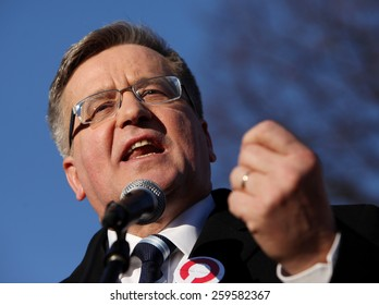 NOWY TARG, POLAND - MARCH 8, 2015: The commencement of the presidential campaign by Bronislaw Komorowski in Nowy Targ in  Malopolska. Poland
