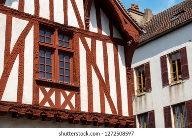 Noyers-sur-Serein Yonne Bourgogne-Franche-Comte France 18th July 2017 Red timber framed house