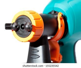 nozzle of an electrical spray gun close up