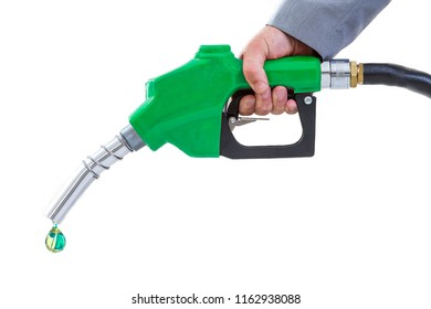 Nozzle,energy concept, Drop of green fuel white background