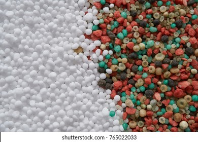 NPK : white ,black,pink,and colorful fertilizer for background. concept  :New years celebrate photo sets   for fertilizer or agriculture company .