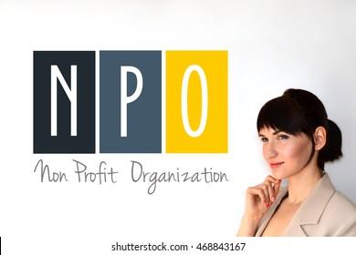 NPO. Non profit organization sign on white background