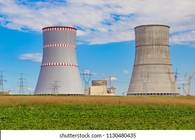 NPP, Cooling towers of the nuclear power plant which is under construction in Astravets, Grodno region, Belarus. These coolers resemble the chess pieces the rook
