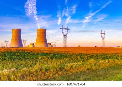 NPP, Cooling towers and power lines of the nuclear power plant which is under construction in Astravets, Grodno region, Belarus. These coolers resemble the chess pieces the rook