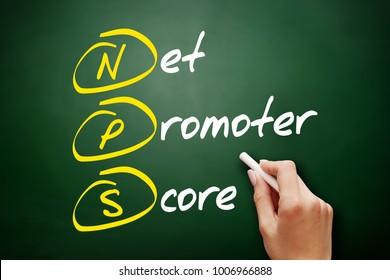 NPS - Net Promoter Score acronym, business concept on blackboard