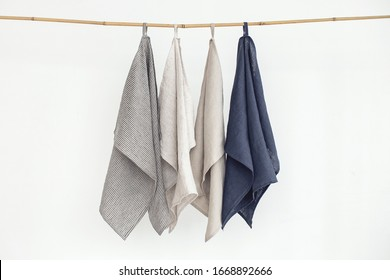 Nrural cotton kitchen tea towels. organic products on white background. Clean kitchen concept.