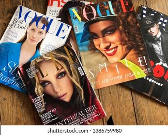 Düsseldorf, NRW, Germany- May 2, 2019: Various of german fashion magazines on the table.
