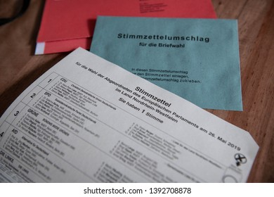 NRW/GERMANY - MAY 07, 2019: Part of the ballot paper for the European Parliamentary elections for NRW in Germany. The election is held between the 23rd and 26th of May, 2019.