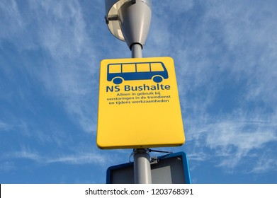 NS Bus Stop Sign At The Train Station Of Apeldoorn The Netherlands 2018