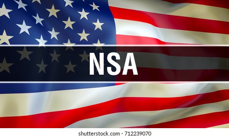 NSA on United States flag waving in the wind. NSA on USA flag. United States Secret Service. NSA United States National Security Service Agency. Protection and secret surveillance concept