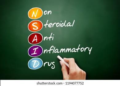 NSAID - nonsteroidal anti-inflammatory drug acronym, concept on blackboard