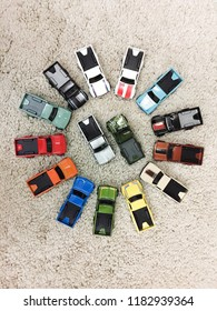 N.Sembilan, Malaysia - Sept 19, 2018: The Datsun 620 hotwheels pickup is arranged by circle by collector. It's also one of the favorite collections of hotwheels collectors.