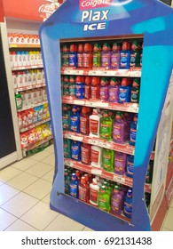 NSK , Malaysia - August 31th, 2017 : Colgate Plax produced by Colgate - Palmolive display on the gondola end in supermarket.