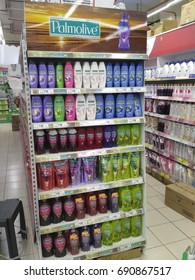 NSK,Malaysia - August 31th,2017 : Gondola End Display for Palmolive shower gel and shampoo in supermarket.