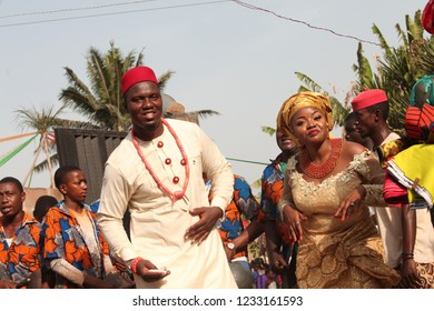 Nsukka, Enugu, Nigeria. 20 Feb 2016: Married couple dances to the wife's house to ceremoniously pack her bags and follow the husband to his house.