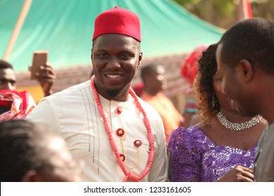 Nsukka, Enugu, Nigeria. 20 Feb 2016: The groom dances with the mother of the bride and other in-laws as are present.