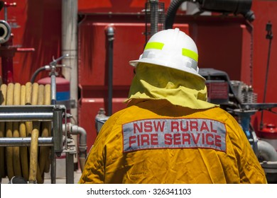NSW Rural Fire Fighter in protective clothing