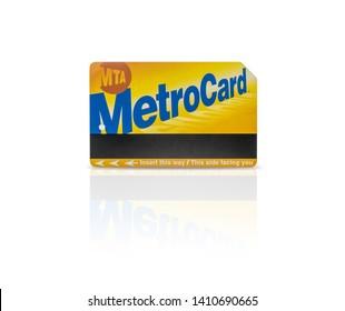 NTC Metro Card. Bangkok, Thailand. May 29, 2019 : NYC MTA Metrocard New York City Subway Train isolated on white background.