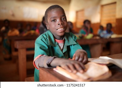 NTCHISI, MALAWI - JUNE 29, 2018: Unidentified student in a classroom of a primary school in a remote village near Ntchisi. Malawi is one of the poorest countries in the world.