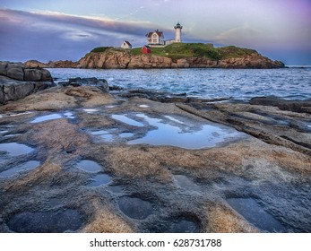 The Nubble Light just after sunset at Cape Neddick Maine, USA