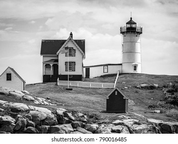 Nubble Lighthouse in Maine in black and white