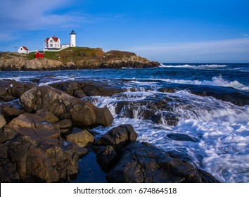 The Nubble Lighthouse In Soft Afternoon Light, A Pastoral New England Seascape And A Truly Classic Lighthouse, Cape Neddick, Maine, USA