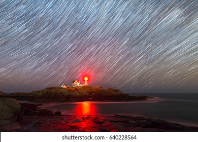 Nubble Lighthouse Star Trails in Maine