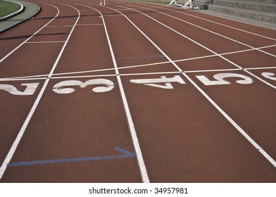 Nubers for the track and field lanes in stadium.