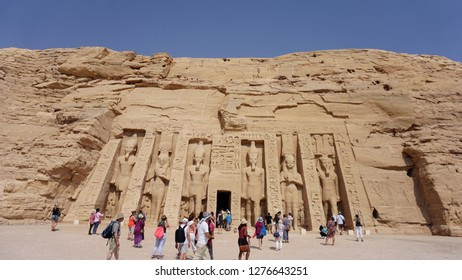 NUBIA, SOUTHERN, EGYPT - OCTOBER 2, 2018: Tourists at the Temple of Hathor / Nefertari at Abu Simbel in Nubia, southern Egypt.