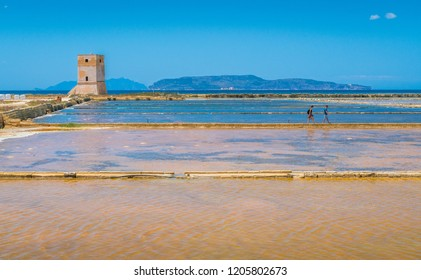 Nubia Tower at the Trapani salt flats. Sicily, southern Italy.