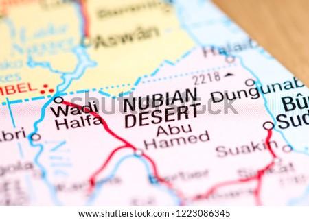 Nubian Desert Africa On Map Stock Photo Edit Now 1223086345