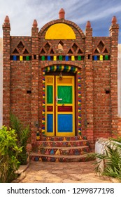 Nubian house painting with different type of colours and already hand building