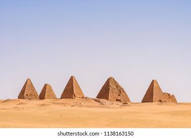 Nubian Pyramids of Kerima in Sudan in the sahara desert near the nile river