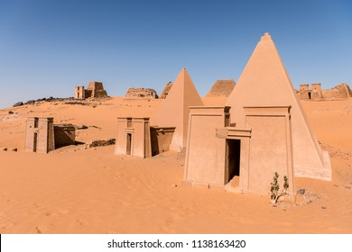 Nubian pyramids of Meroe in Sudan, big pyramids tombs near the river Nile on the east bank in the Sahara desert. Travel to Sudan and discover the pyramid of Meroe in Northern Africa