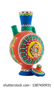 Nubian style handmade artistic painted colorful decorated pottery jug with one handle isolated on white background including  clipping path