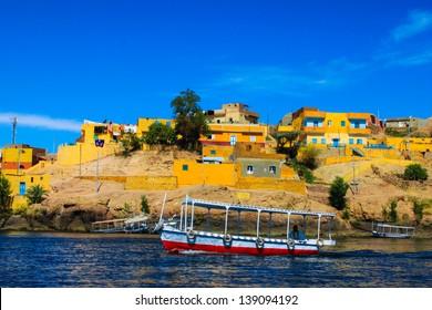 Nubian traditional village, Egypt. A traditional village on Lake Nasser, Aswan city, Egypt