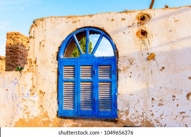 NUBIAN VILLAGE, EGYPT - DEC 2, 2014: Architecture of a one of the Nubian villages near Aswan, a settlement along the banks of the Nile from northern Sudan to Aswan