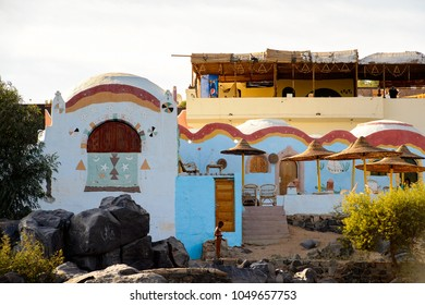 NUBIAN VILLAGE, EGYPT - DEC 2, 2014: A house of a one of the Nubian villages near Aswan, a settlement along the banks of the Nile from northern Sudan to Aswan