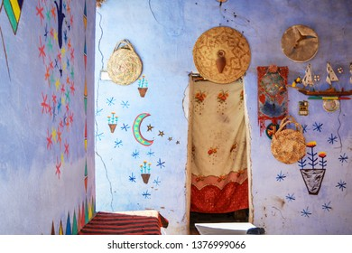 NUBIAN VILLAGE, EGYPT - FEB, 2017: Interior of a house in a Nubian village near Aswan, a settlement along the banks of the Nile from northern Sudan to Aswan