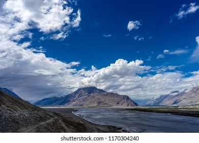 Nubra Valley from Diskit Gompa by Shyok river on the left and Nubra river on the right