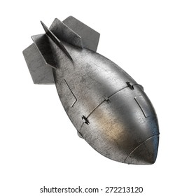 Nuclear aerial bomb. Atomic rocket on a white background